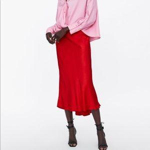 Zara silky New black midi skirt